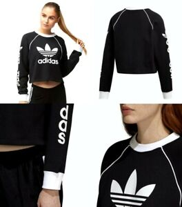 25e25181465 Image is loading Adidas-Originals-Winter-Ease-Cropped-Sweater-Cotton-Black-