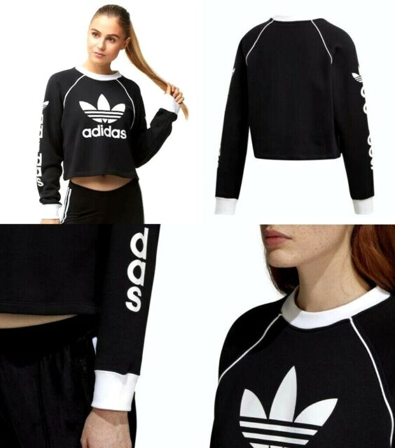 5e003e177a05 adidas Womens Winter Ease Crew Sweater Black White Dh4714 Size Medium