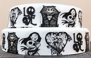 NIGHTMARE BEFORE CHRISTMAS 'LOVE' BLACK & WHITE GROSGRAIN RIBBON ...