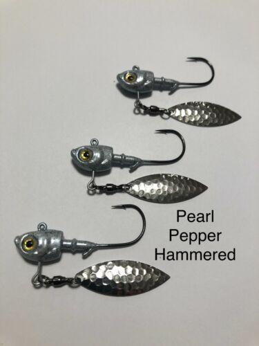 Underspin Jig Herring head Bass Striper Walleye 3D Eye Mustad Hooks 3