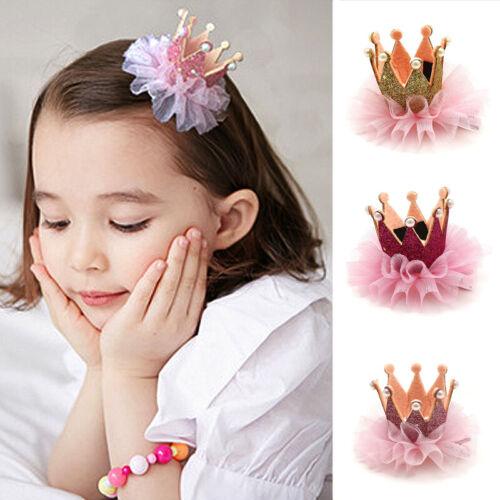 Child Baby Girls Princess Birthday Party Crown Headband Hair Clip Band Decor 13U