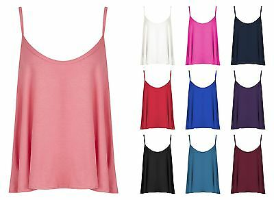 Womens Ladies Plain Sleeveless Swing Vest Strap Cami Camisole Flared Tank Top