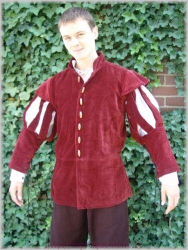 Medieval Renaissance Lansquenet Jacket Slotted Sleeves Genuine Velvet 3 Colours