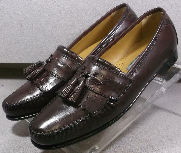 150834 ES50 Chaussures Hommes Taille 9.5 M Bordeaux en cuir Slip Ons Johnston & Murphy