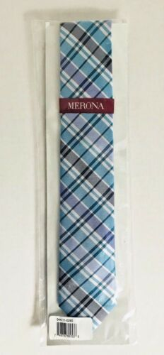 Mens Merona Silk Tie Necktie Slim Plaid Blue Aqua White Navy Groomsmen Set New