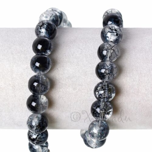50 Or 100PCs Black Wholesale 10mm Round Crackle Glass Beads G8102-20