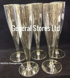 Image Is Loading One Piece Plastic Clear Gold Glitter Champagne Flutes
