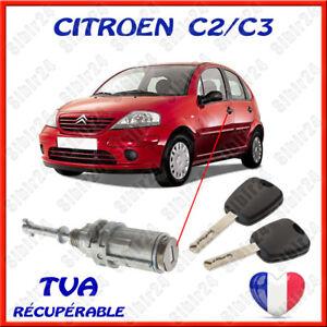 CITROEN-C2-C3-BARILLET-SERRURE-PORTE-AVANT-GAUCHE-2-CLES