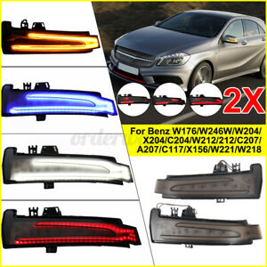 Dynamic LED Side Wing Mirror Indicator Turn Signal Light For Mercedes