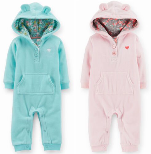 NWT Carters Baby Girls Hooded Microfleece Jumpsuit Clothes 6 9 12 18 24 Months