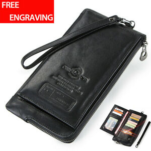Men-039-s-Genuine-Leather-Long-Wallet-RFID-Blocking-Clutch-Thin-ID-Card-Holder-Purse
