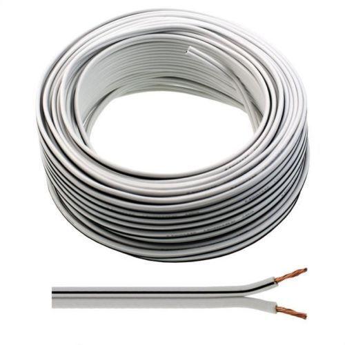 5m of White Flat Speaker Cable 2 X 79 Strand OFC Surround Sound HIFI ...