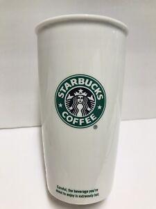 Starbucks 12 oz Coffee Mug Cup Travel Tumbler White Tall Ceramic 2009 No Lid