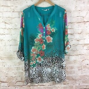 Soft-Surroundings-Womens-Tropical-Floral-Leopard-Animal-Print-Teal-Blouse-Large