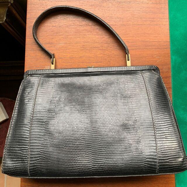 Sac Vintage Ancien en lézard cuir noir Année 50 doublé cuir