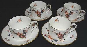 Coalport-England-Khotar-Set-of-4-Cups-amp-Saucers-Bone-China