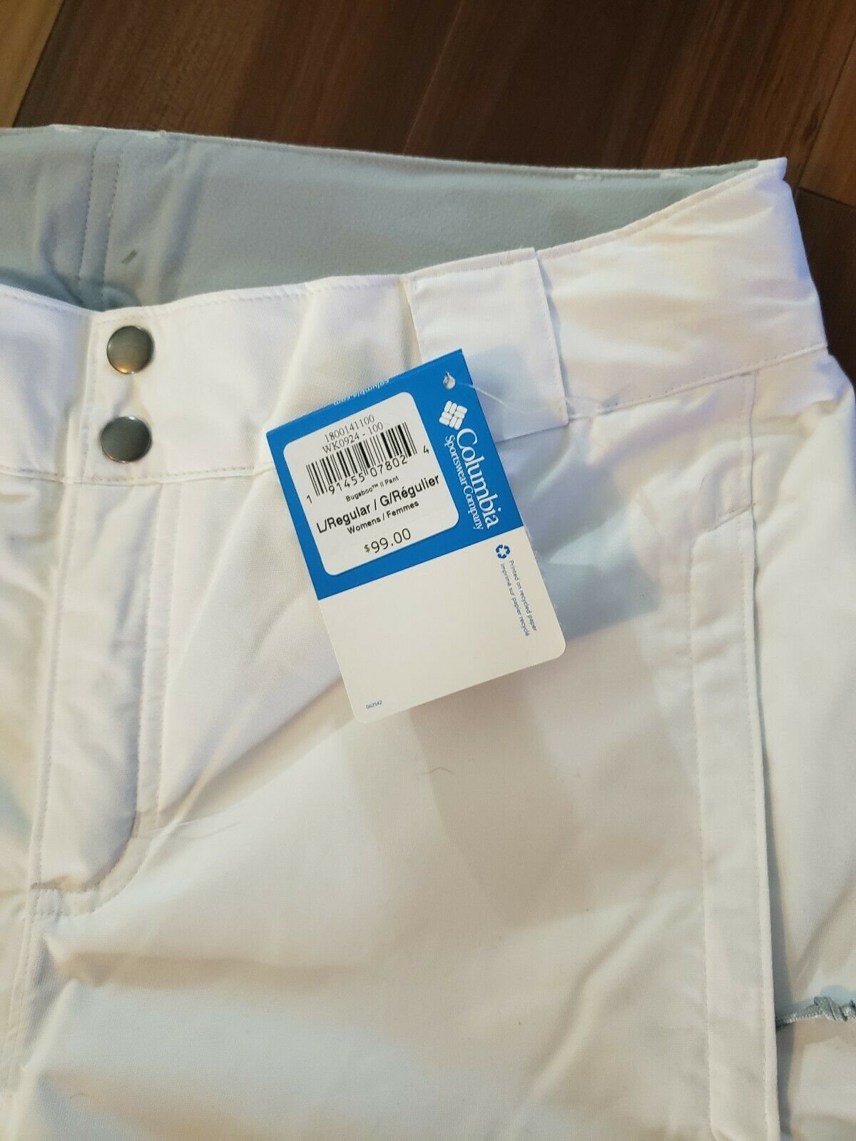 New Columbia Women's White Bugaboo II Pant, Waterproof and Breathable