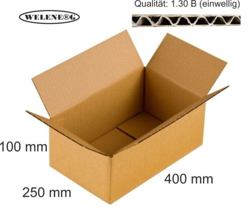 120 Faltkartons 400x250x100mm B-410g//m2  Versandkarton Falt Kartons BRAUN