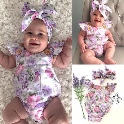 Toddler Baby Girl Boy Kid Off Shoulder Romper Jumpsuit Bodysuit Clothes Sunsuits
