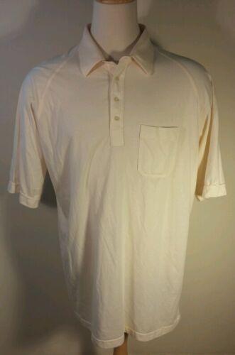 Men's Vtg 80's Plain Blank Cream Golf Shirt POLO w