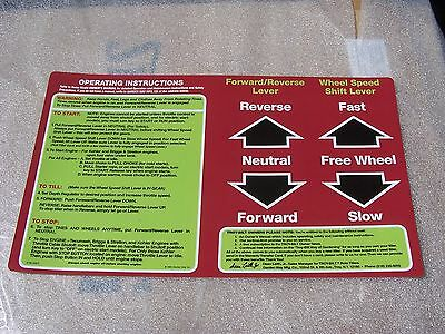 Troy bilt horse OEM Reproduction Operating Instructions Decal