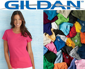 buy good wide selection good selling Details about 100 Gildan Women's Any Color Blank T shirts BULK LOT S-XL  wholesale Plain Ladies