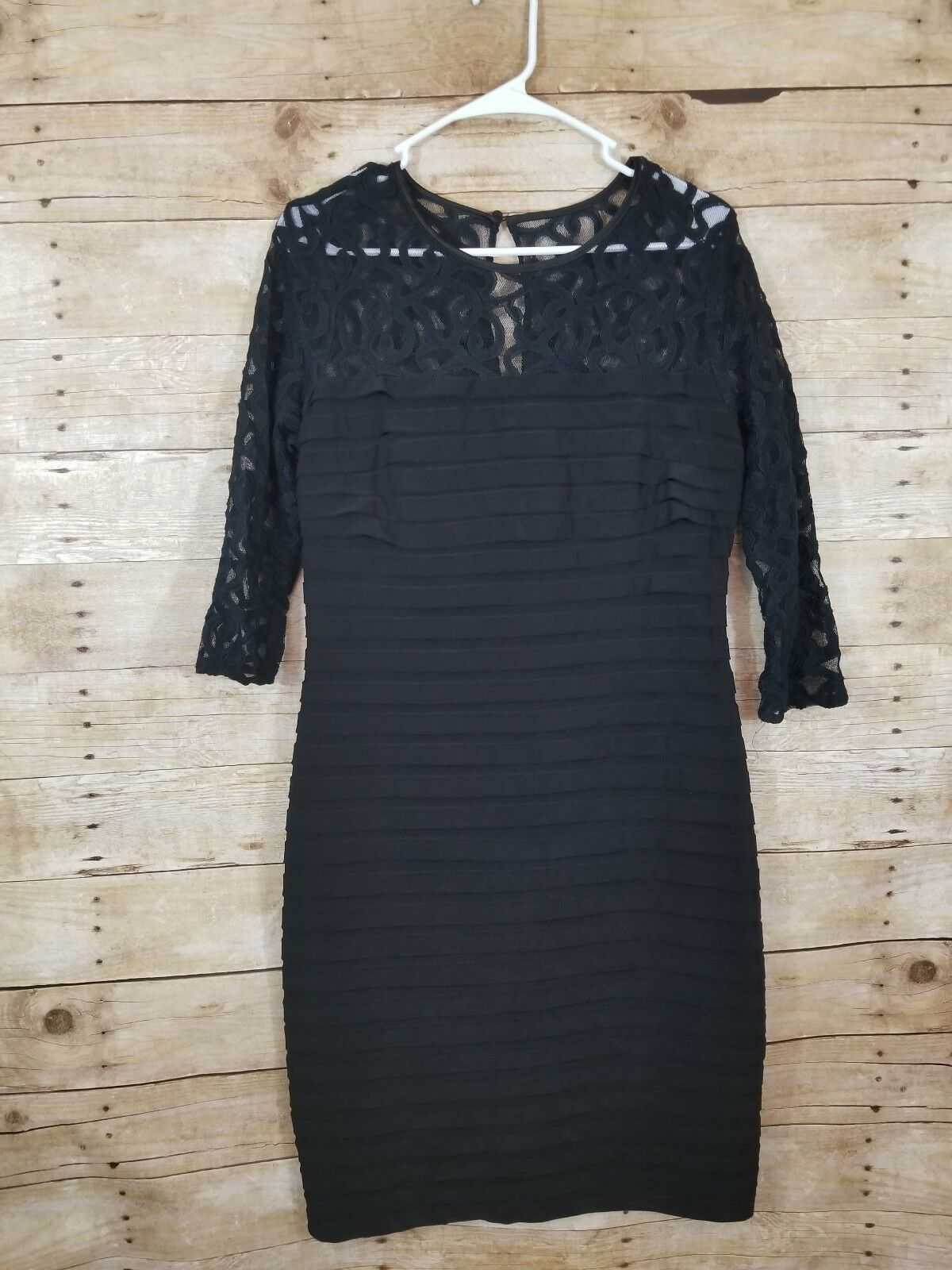Adrianna Papell schwarz Lace Bodycon 3 4 sleeve Dress Woherren Größe 12
