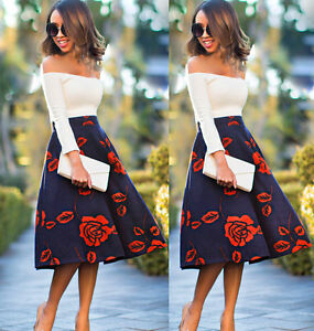 6b0fcb596a chic Ladies Girls Skirts Women s Winter Flared Floral Long Skater ...