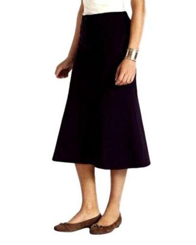 "Black UK Size 12 WOMENS/' PANELLED COTTON SKIRT 29/"" /'MAGIFIT/' ELASTICATED WAIST"