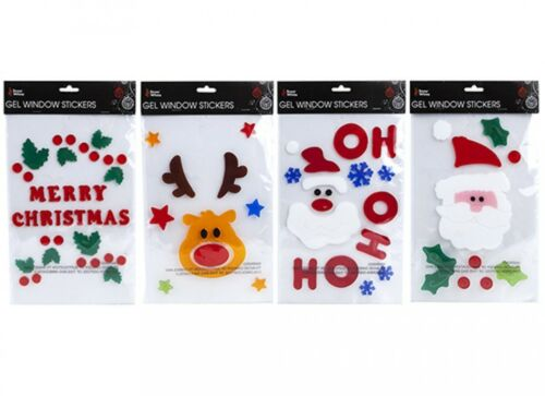 Christmas Gel Window Stickers Gift Tree Decoration Santa Reindeer Ho Ho Ho