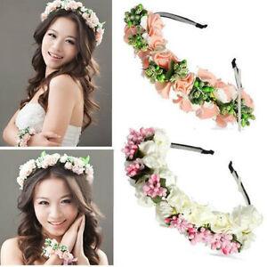Rose-Fleurs-Bandeau-Serre-tete-pour-cheveux-collier-de-Parure-bijoux-Front