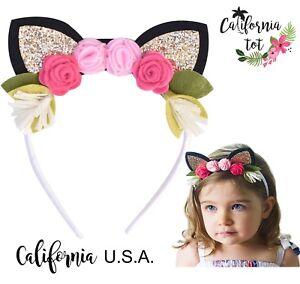 e3669a0a7e50 Image is loading California-Tot-Toddler-Cat-Headband-Felt-Flower-Crown-