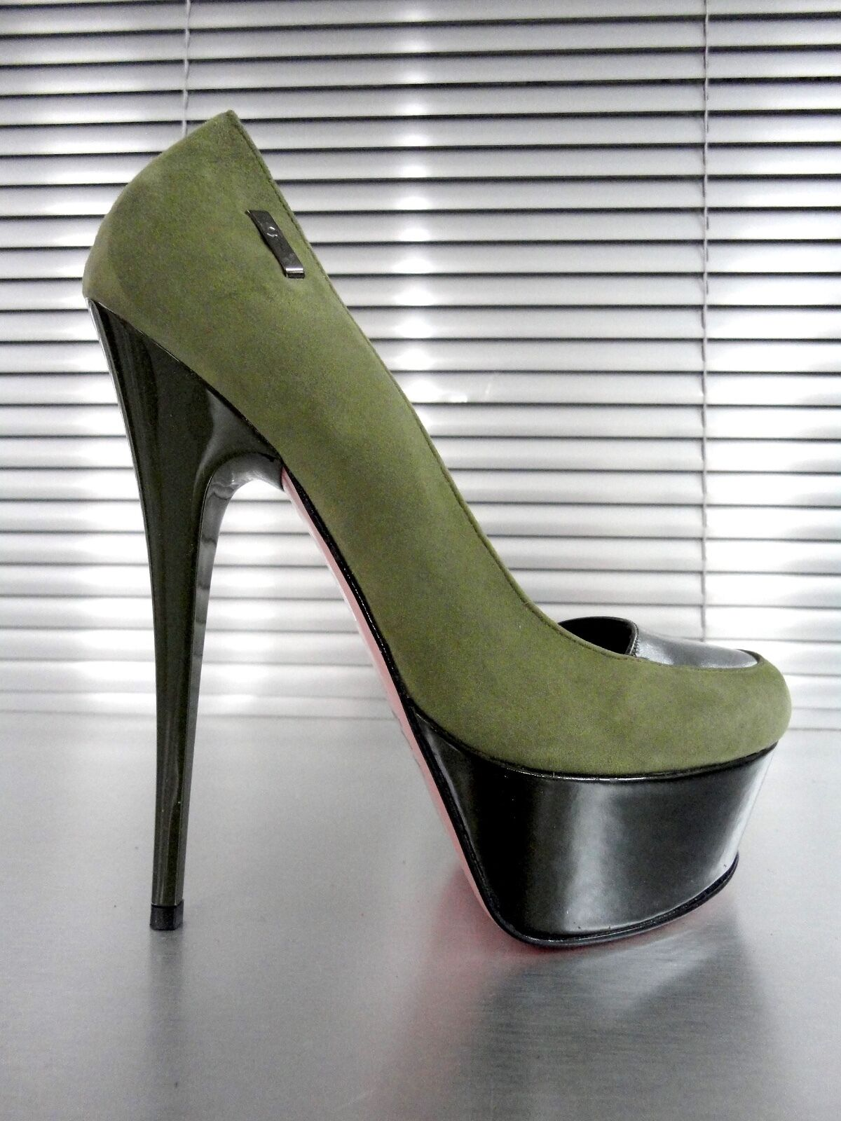 Descuento barato MORI ITALY PLATFORM HEELS PUMPS SCHUHE SHOES KROCO LEATHER LIGHT VERDE GREEN 38