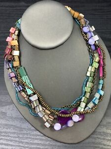 """Necklace Coin MOP Shell Beaded Bohemian Multi Strand necklace  18"""" Pastel Color"""