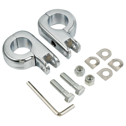 """Chrome Foot Pegs Footpegs Mounting Kit for Harley 1-1//4/""""1.25/""""Highway Bars TCMT"""