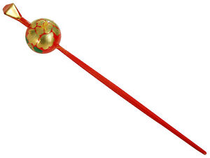 Details about  /Japanese Hair Ornament Kanzashi Red Ball Stick Golden Peony Flower