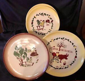Set of 4 Vintage Brock Pottery California Farmhouse Pattern Plates