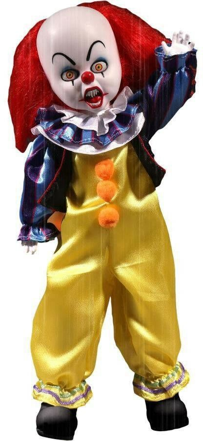 Figure Doll PENNYWISE CLOWN 25cm IT MOVIE 1990 Mezco LIVING DEAD DOLLS New