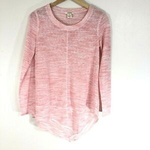Sundance-Catalog-Blouse-Top-Size-XS-Pink-High-Low-Hem-Long-Sleeve