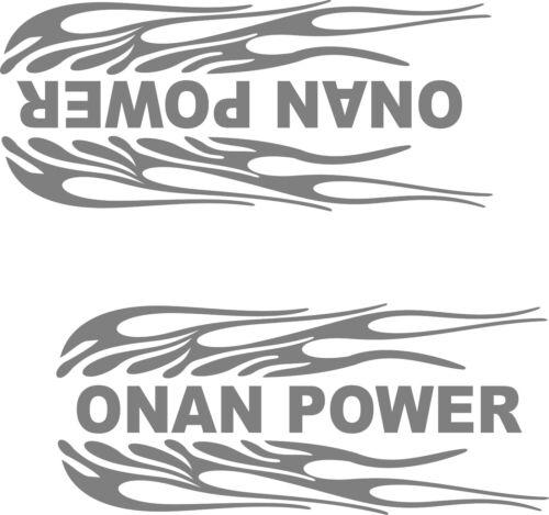 "ONAN POWER- FLAMES  VINYL DECALS SILVER 3 3//4/"" X 9/"" EACH 2"
