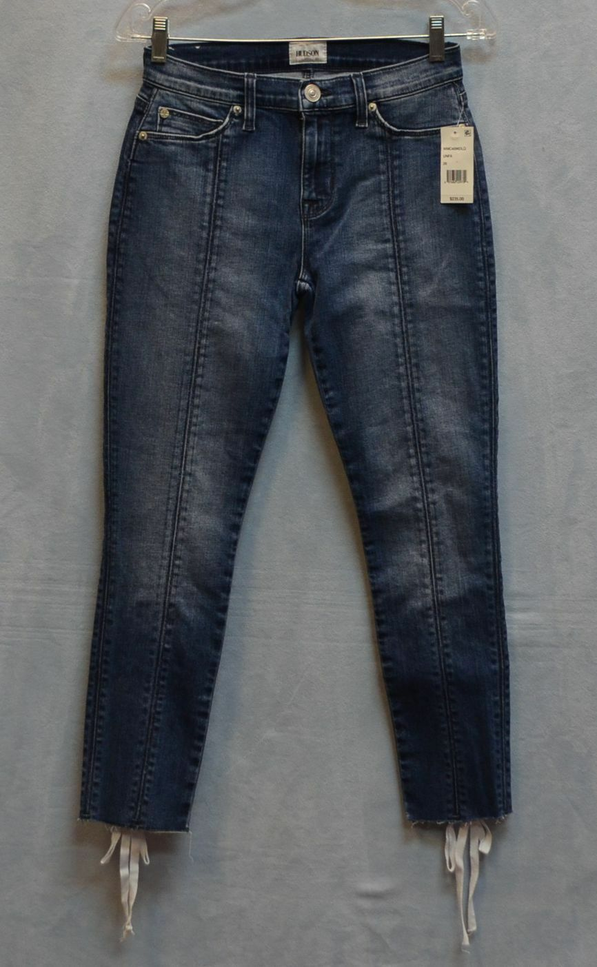B5 NWT HUDSON Nico Midrise Lace Up Super Skinny Crop Jeans Size 26
