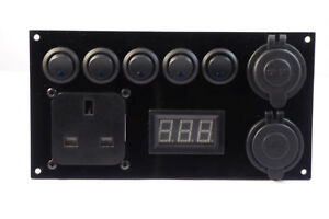 Camper-Switch-Panel-12V-240V-2-1A-USB-Battery-Monitor-Control-Panel-Split-Charge