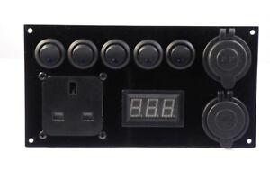 Camper-Switch-Panel-12V-240V-2-1A-USB-Battery-Monitor-Control-Panel-Split-Charge