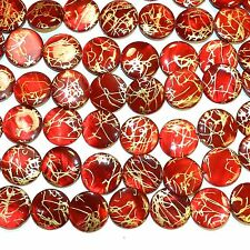 """MP2432t Red w Gold Drawbench Drizzle 20mm Round Mother of Pearl Shell Bead 15"""""""