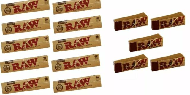 Raw King Size Slim Natural Rolling Papers 10 Booklets &5 Roach Tips Combo Pack😱
