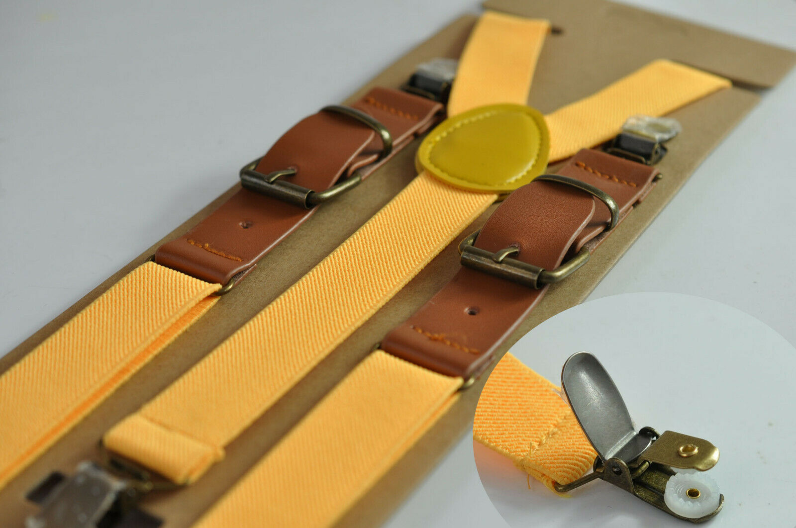 Yellow Elastic Tan Brown Leather Suspenders Braces For all ages