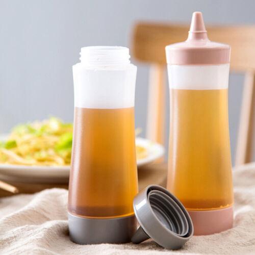 Plastic Squeeze Bottle Reusable Condiment Dispenser Salad Sauce Jam Ketchup Cont