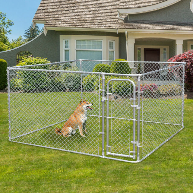 Dog Kennel Fence Steel Wire Outdoor Heavy Duty Pet Cage Pen Run House  Galvanized