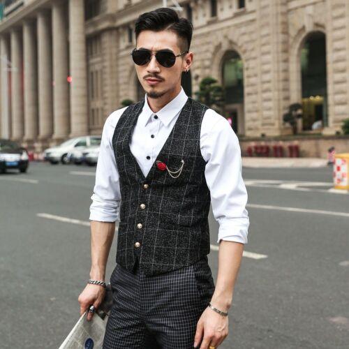 Hommes écossais carreaux gilet costume GILET coton Casual Formal treillis Chequer Black