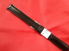 Black 12,16 mm Extra Long Leather  Watch Strap